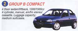 4 door sedan liftback, 1300/1500cc 4 cylinder, manual, am/fm stereo/cassette. Luggage capacity = medium suitcases